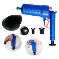 Clog Remove Air Drain Pump Cleaner Kit with 4 adapters toilet plunger pipe suction cup Toilets Bathroom Kitchen Pipe