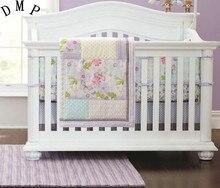 4pcs Embroidery baby cot bedding set protector de cuna bed linen cartoon crib bumper (4bumpers+duvet+bed cover+bed skirt)