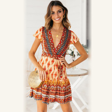цены на Everkaki Boho Gypsy Print Ethnic Mini Dress Women With Sashes V Neck Short Sleeve Bohemian Dress Female 2019 Summer Autumn New  в интернет-магазинах