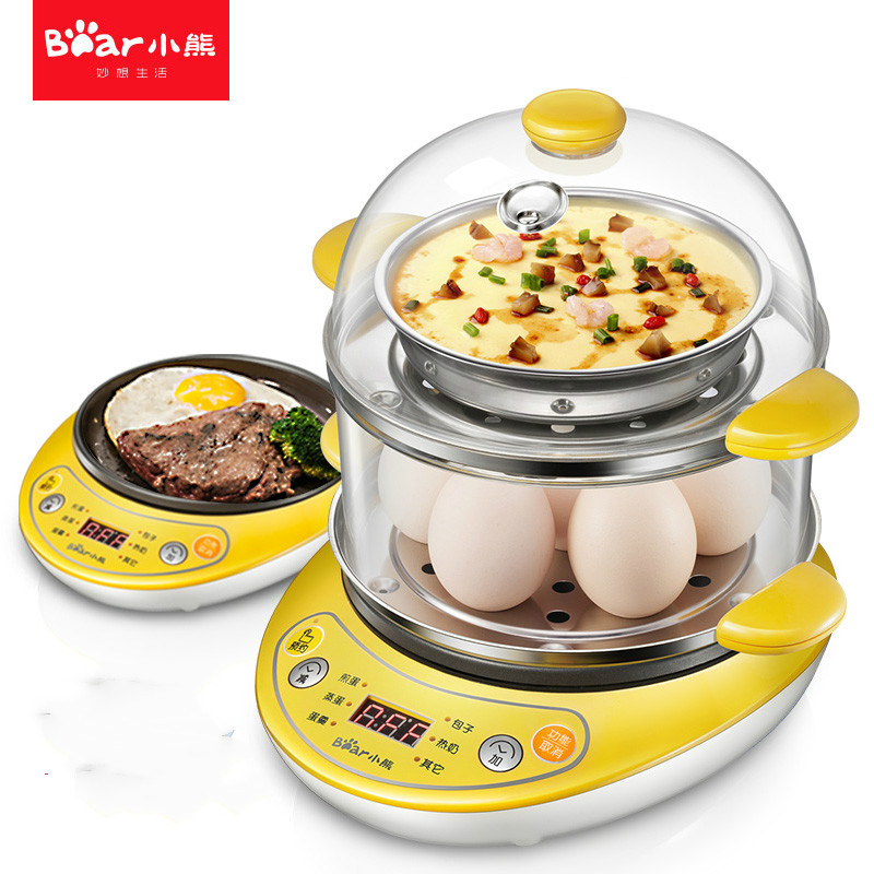Bear Egg Boiler Automatic Power-off Household Electric Cooker Fried Eggs Double Boiled Egg Mini Steamed Custard Machine 220v 600w 1 2l portable multi cooker mini electric hot pot stainless steel inner electric cooker with steam lattice for students