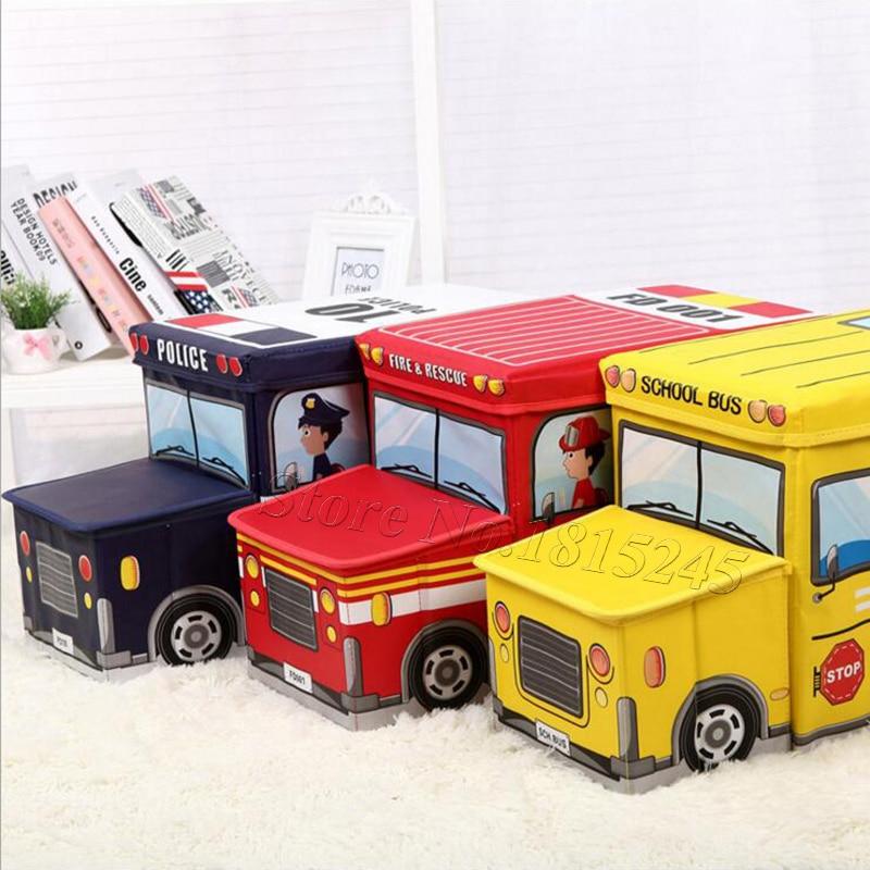 2019 New Wardrobe Kids Organizer Bins Box For Toys: Cartoon Style Cute Fire Rescue Emergency School Bus