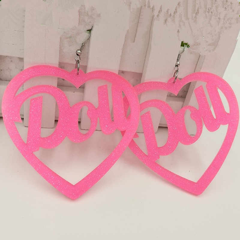 Cool Night Club Love Long Hanging Big Heart Hot Pink Earrings for Women Punk Shiny Acrylic Drops Dou Letter Earring Jewelry Gift