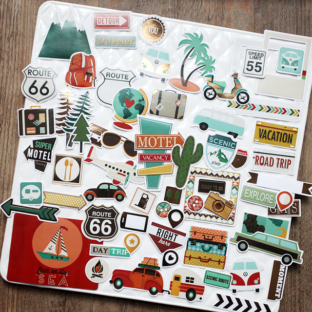 Vuawrtg 65pcs travel paper die cuts stickers for scrapbooking happy planner card making journaling