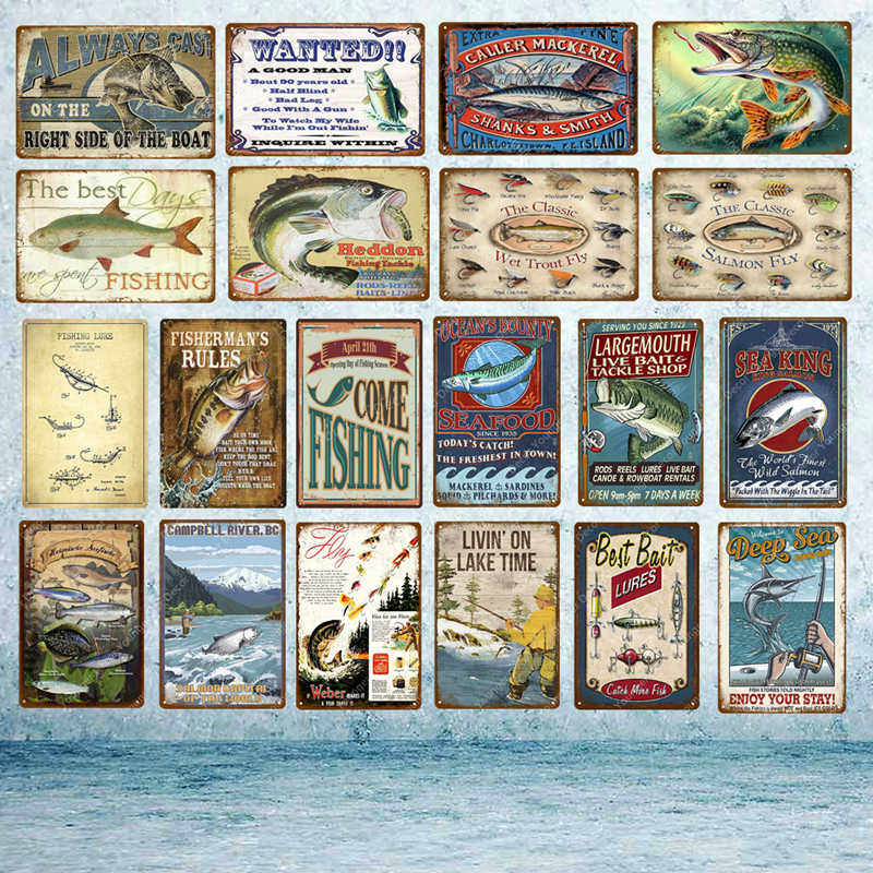 Man Cave Fish Fishing Metal Tin Signs Seafood Fisherman Rules Poster Vintage Plaque Wall Sticker Pub Bar Home Outdoor Decor