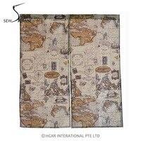SewCrane Vintage Map Linen Door Curtain Japanese Home Restaurant Noren Doorway Room Divider 33 4 X
