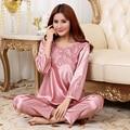New Arrival Women Elegant Silk Satin Pajama Set Long Sleeve Pijama Set Lace Pyjama Set V-neck Night Wear Fashion Sleep Wear