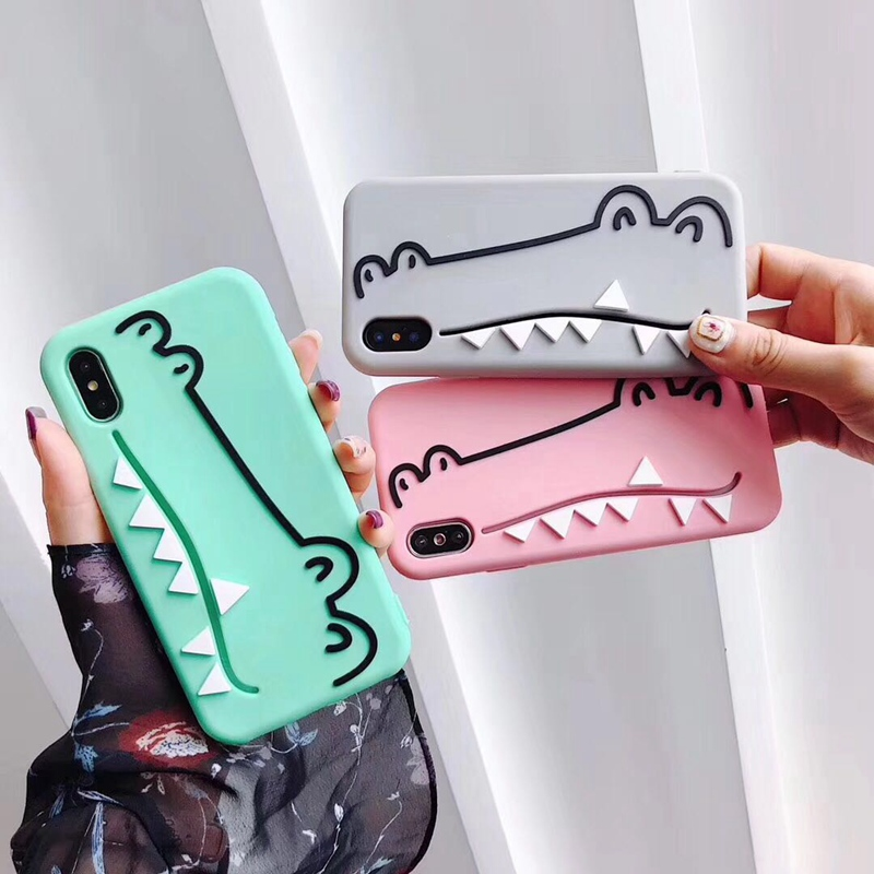 Cartoon silicone cute little crocodile phone for iPhone 8 case 7 6 6s Plus X 10 XR XS MAX back cover