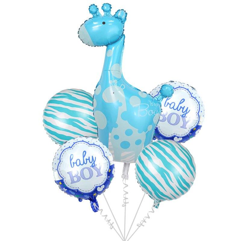 5pcs lot pink blue giraffe foil helium balloon. Black Bedroom Furniture Sets. Home Design Ideas