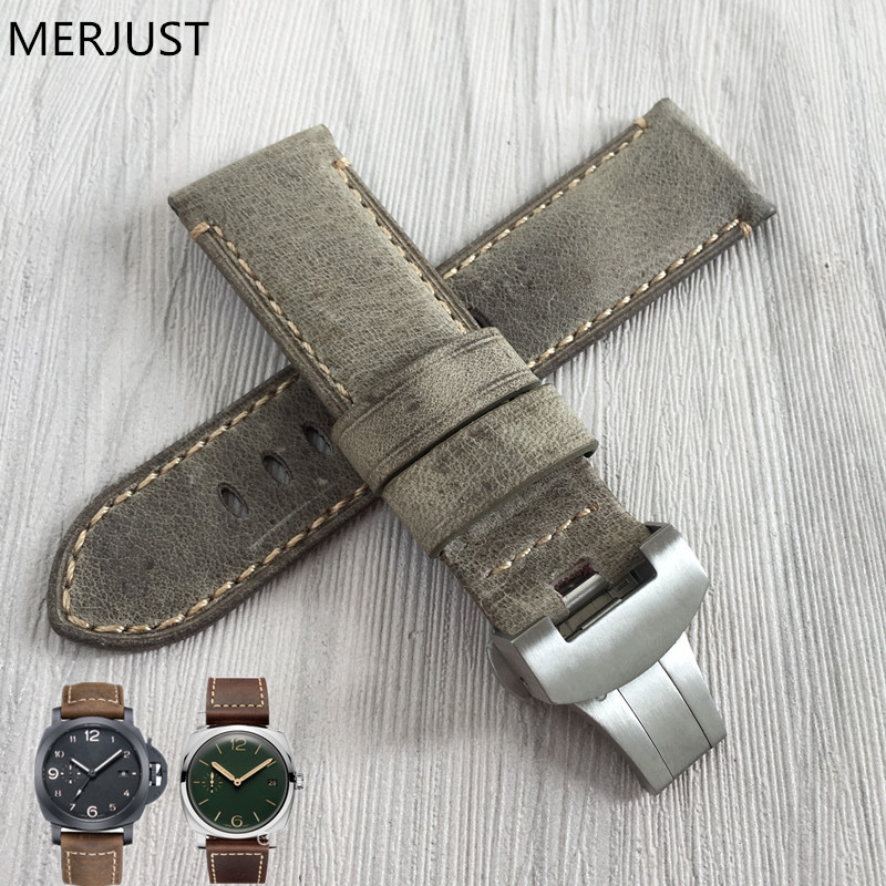 24mm Handmade  Stitched Genuine Calf Leather Watch Strap Band For Deployment Buckle Watchband Strap For Panerai PAM Send Too