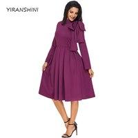 Yiranshini 2018 moda púrpura embellecido bowknot Mock Masajeadores de cuello bolsillo vestido nuevo sólido tortuga Masajeadores de cuello señora partido vestido lc61832