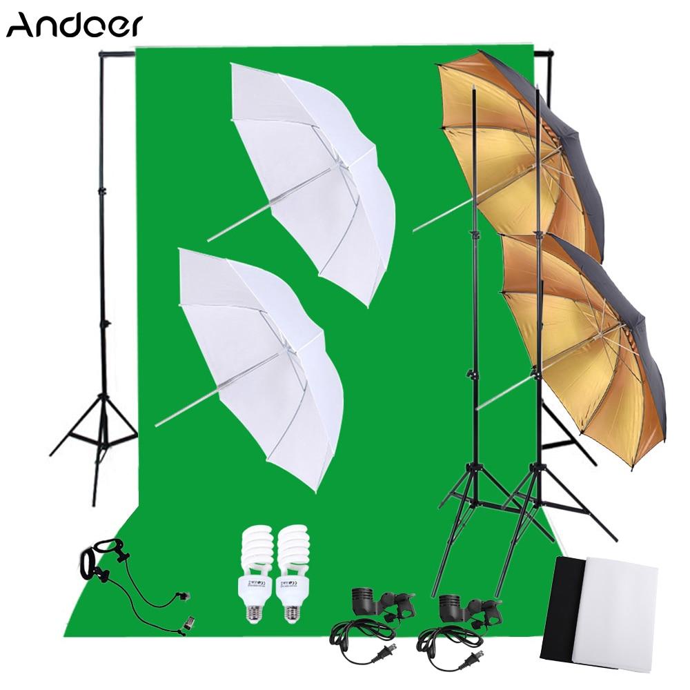 Professional ถ่ายภาพชุดชุด 45 W 5500 K Daylight สตูดิโอหลอดไฟ + ยืน + ฉากหลัง Soft Reflector ร่ม-ใน อุปกรณ์เสริมสำหรับสตูดิโอถ่ายภาพ จาก อุปกรณ์อิเล็กทรอนิกส์ บน AliExpress - 11.11_สิบเอ็ด สิบเอ็ดวันคนโสด 1