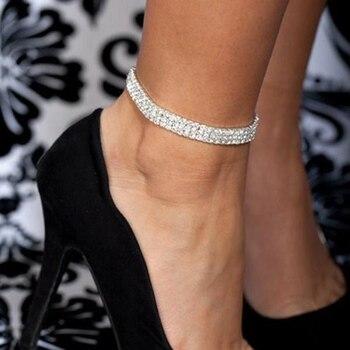 Elastic Anklet Stretch Boho Crystal Bracelet Cheville Barefoot Sandals Pulseras Tobilleras Mujer Foot Jewelry