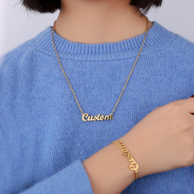 Personalized Custom Name Necklace Custom Jewelry for Women Gold Stainless Steel Engraved Choker Necklaces Pendants