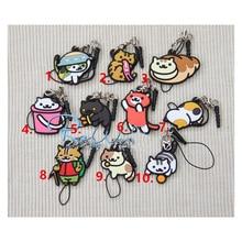 Game Keychain Anime Neko Atsume Keychain Red Black Cat Backyard Phone Straps Dust Plug Rubber Keychain Portachiavi Pendant