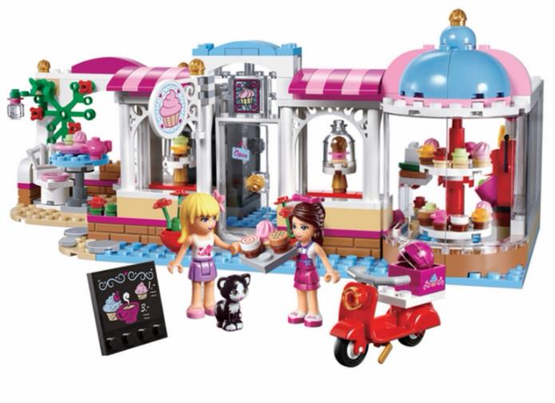 10496 Girl Friends Heartlake City Park Cupcake Cafe Building Blocks Sets Kids Education Bricks Toys Gift Compatible with Legoe gonlei 10407 friends pop star tour bus building blocks sets bricks toys girl game house gift compatible with