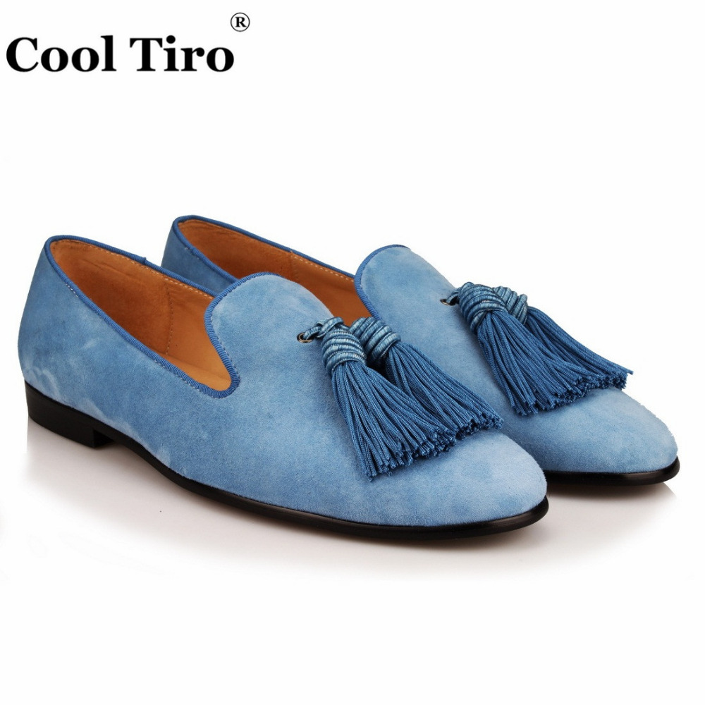 COOL TIRO new Light blue tassel men smoking Slippers   suede   Fashion Genuine   Leather   Causal Shoes Handmade Party Flat Loafers