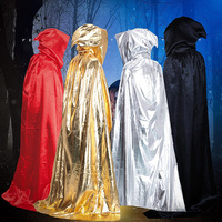 1pc 4 Sizes Halloween Adult Magic Wizard Witch Hooded Cloak Floor Length Costume Masquerade Festival Party