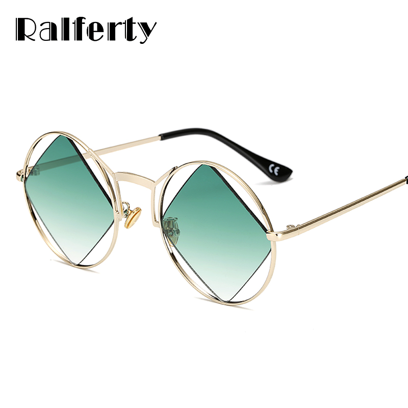 Ralferty 2018 Unique Diamond Sunglasses Women Vintage Hollow Sunglass For Women Designer Round Sun Glasses Female lunette A01
