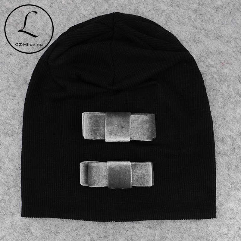 GZHilovingL Модные женские шапочки шапки 2018 бархатные банты осень зима ребристая мягкая шапка для девушек мешковатые шапки Скалли