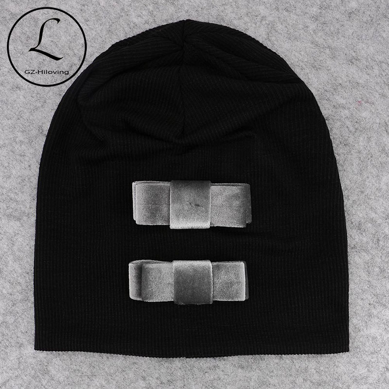 GZHilovingL Fashion Women Beanies Cap Hats 2018 Velvet Bows Autumn Winter Ribbed Slouch Hat For Ladies Girls Baggy Hats Skullies