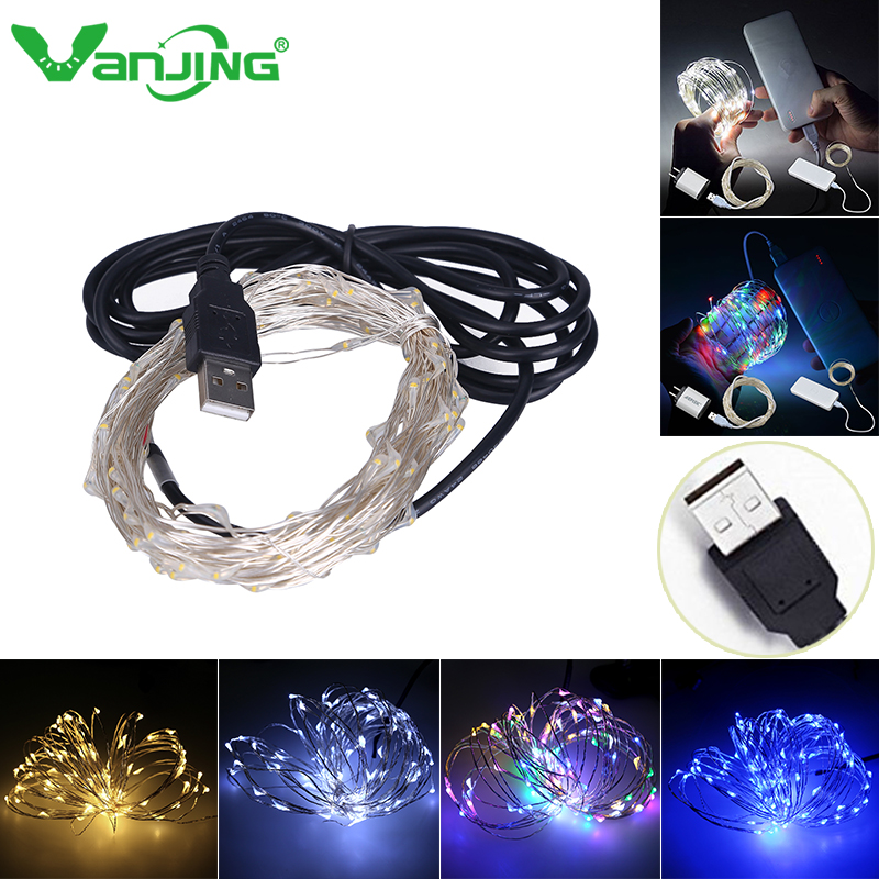 10m 33ft 100 led 5v usb powered outdoor warm whitergb led silver wire string - Usb Powered Christmas Lights