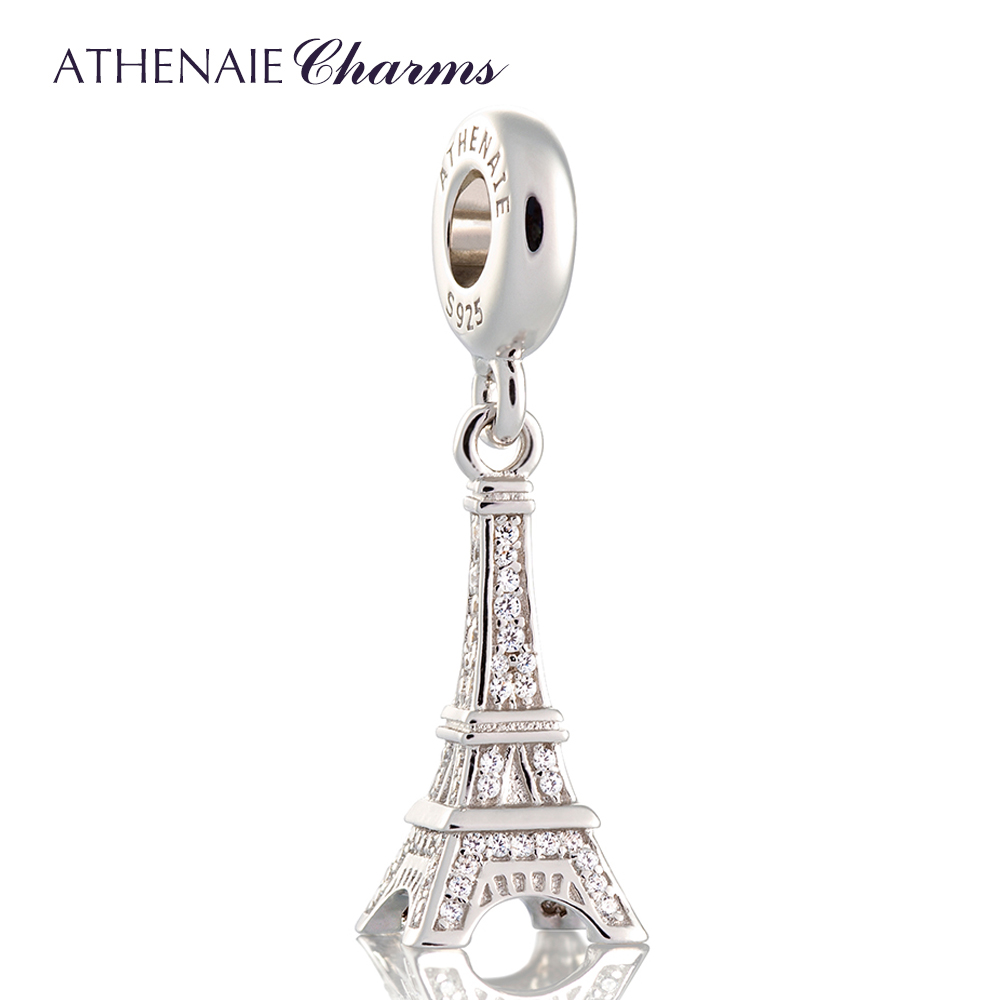 ATHENAIE 925 Silver with Pave Clear CZ Eiffel Tower Pendant Drops Charm Beads Fit All European Bracelets Necklace Color White zea sl814 1y women s eiffel tower shaped zinc alloy zircon pendant necklace silver