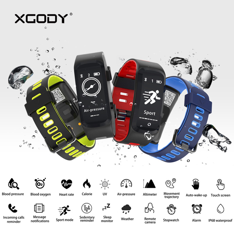 In Stock XGODY F4 Smart Wristband Heart Rate Blood Pressure Pedometer Waterproof Smart Bracelet Fitness Tracker for iOS Android ...