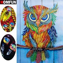 HOMFUN 5D Special Shape Diamond Painting Animal Owl Beadwork Embroidery gift Sale Craft Kit Home Decor Gift 40x30cm