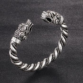 1 pc fait main Norse Viking Ferir père des loups Bracelets 3.5 oz hommes bras anneaux bijoux Antique argent Chunky torsion Bracelets 11