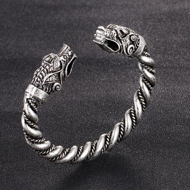 1 pc fait main Norse Viking Ferir père des loups Bracelets 3.5 oz hommes bras anneaux bijoux Antique argent Chunky torsion Bracelets 6