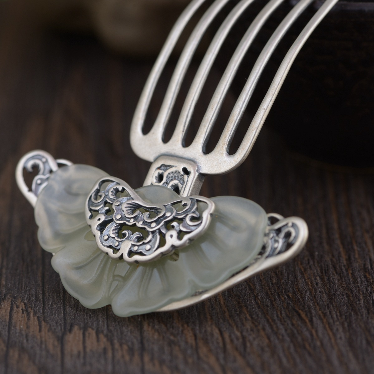 Stone Inlay Thai Silver Hair Comb Vintage Chinese Style Silver Hairpin Peony Flower Hair Pin Jewelry Hair Accessories WIGO1151