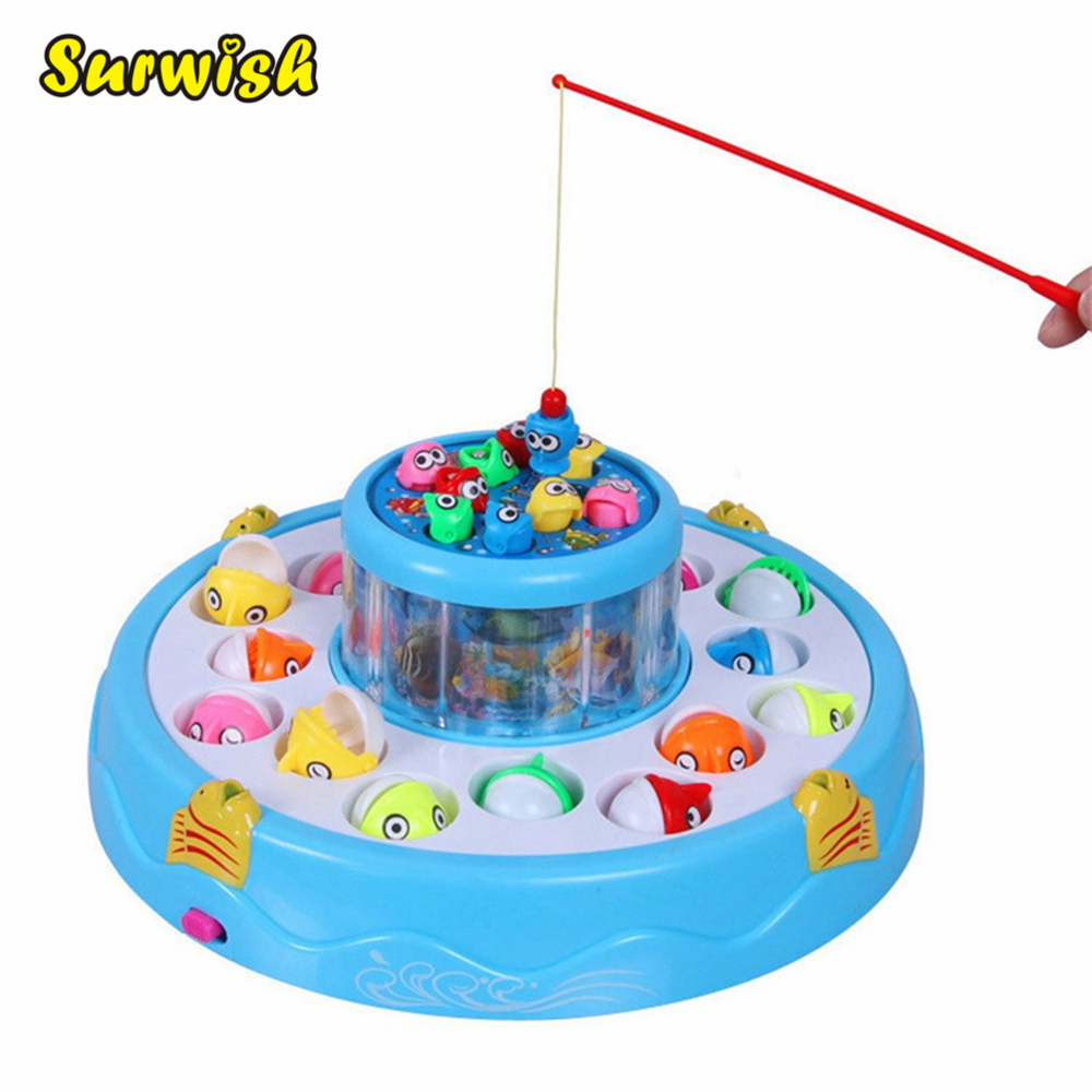 Surwish Kids toys Double Fish Pool Electric Rotating Magnetic Fishing Game with the Music & Light Toy Gift – Color Random