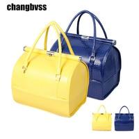 Korean Style Crocodile Pattern Plus Size Women Handbag Makeup Box Multi Color PU Leather Makeup Storage