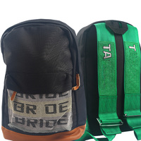 BBRIDE JDM Backpack Racing Tuning Bags School Travel Bag Fabric Straps Seat Belt Drift Car Auto
