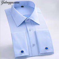 2017 Fashion New Mens Dress Shirt Striped Shirt Men French Cuff Tailored Slim Fit Free