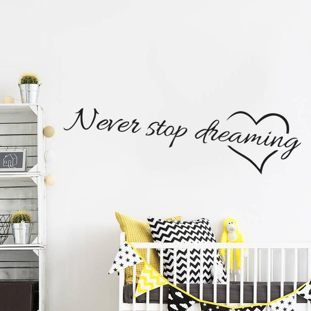 Never stop dreaming inspirational quotes wall art bedroom decorative ...