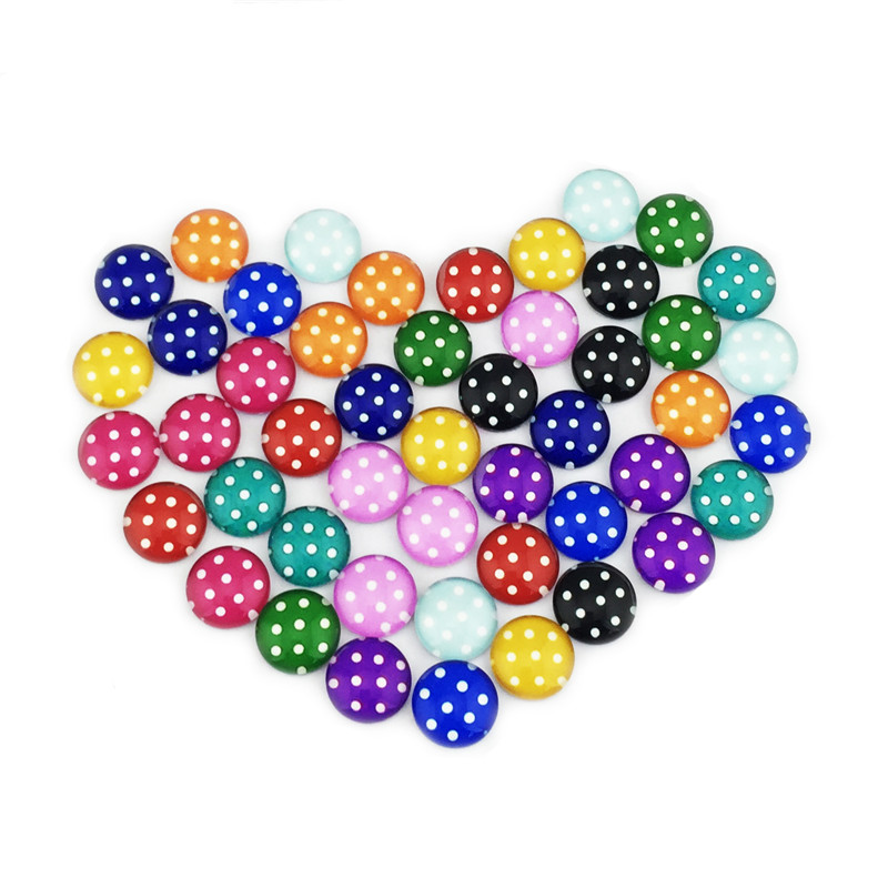 (48 pieces/lot) 12mm round pattern cabochons mix dot kawaii sign image glass cabochon for earring blank settings xl3011