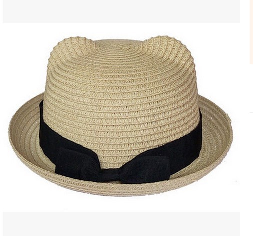 22c4e1b2664 New Kids Straw Hats Fedora Hat Children Beach Sun Baby Ear Vintage Baby Boy  And Girl Wide Brim Floppy Panama