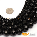 "Round Faceted(32 Faces) AA Grade Black Agate Beads Natural Stone Bead DIY Bead For Jewelry Making Strand 15""  Wholesale !"