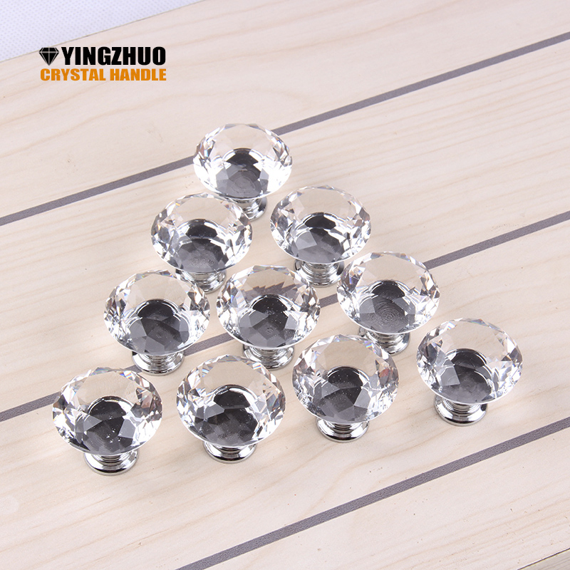 1pack/ 10Pcs 30mm Diamond Shape Crystal Glass Knob Cupboard Drawer Pull Handle Cabinet Wardrobe Knobs Hardware Accessories 10 pcs 30mm diamond shape crystal glass drawer cabinet knobs and pull handles kitchen door wardrobe hardware accessories