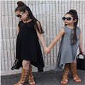 Children Girls Clothing Black And Grey Summer Girl Dress 100% Cotton Kids Vest Dresses For Teenage Girls 2-7Years