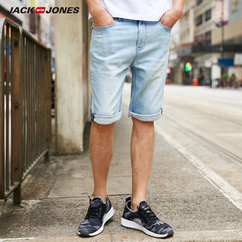JackJones Men's Light Color Stretch Cotton Straight Fit Fading Denim   Shorts   | 2181S3506