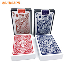 New 2 Sets/Lot Baccarat Texas Hold'em Plastic Playing Cards Waterproof Poker Cards Pokerstar Board Games 2.28*3.46 inch qenueson
