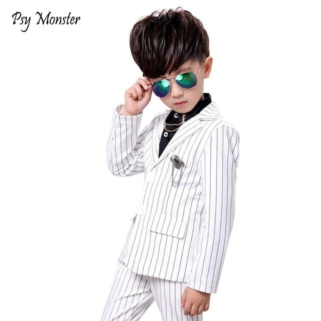 Boys Wedding Birthday Dress Kids Brand White Suit Gentleman Boys Blazer Jacket Shirt Pant Formal Suit Children Clothing Set