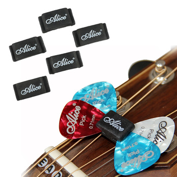 10pcs Alice Black Rubber Guitar Pick Holder Palhetas Plectrums Fix on Headstock for Acoustic Guitar Bass Ukulele Accessories metal guitar capo with bridge pin remover fit for acoustic electric guitar bass ukulele mandolin soprano concert tenor baritone