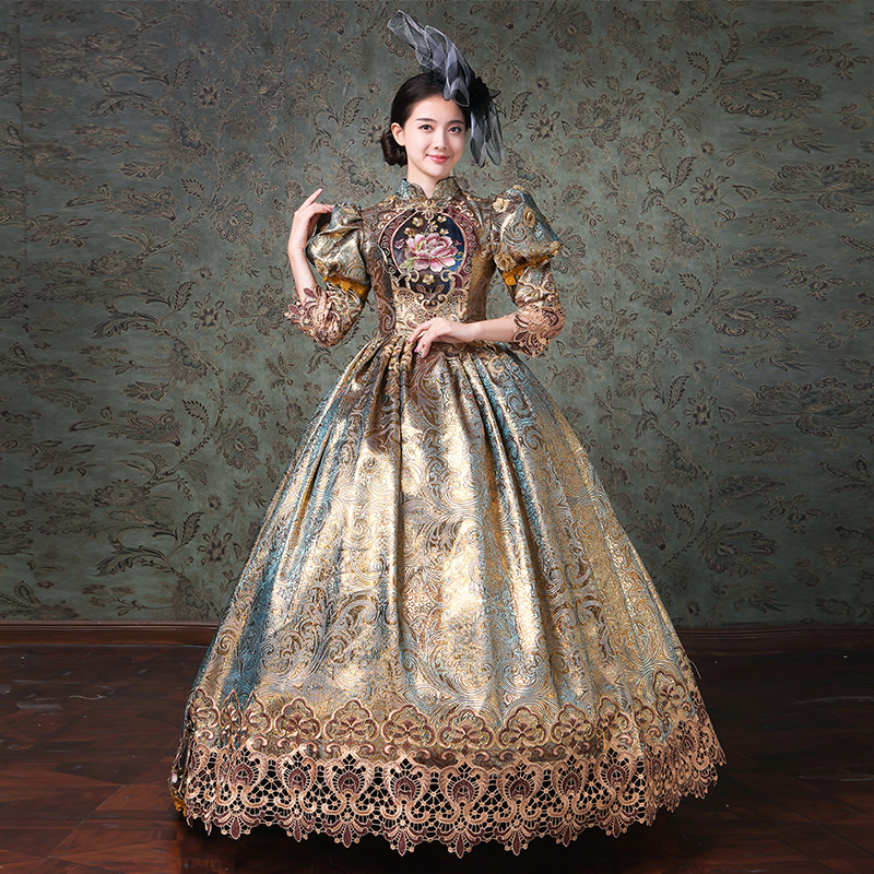 사용자 정의 샴페인 마리 앙투아 네트 여성 긴 드레스 중세 가장 무도회 드레스 공 가운 극장 의상-에서드레스부터 여성 의류 의  그룹 1