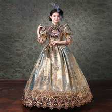 Aangepaste Champagne Marie Antoinette Vrouwen Lange Jurk Middeleeuwse masquerade jurken Baljurken Theater Kostuums