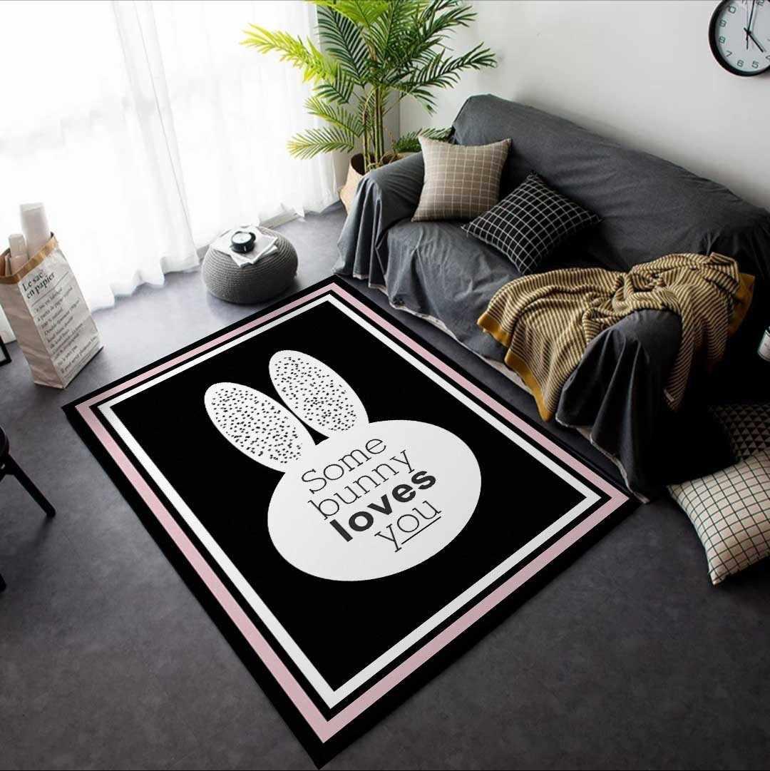 黒矩形カーペット白ウサギのパターンの敷物リビングルームパーラーマット 10 種類サイズ tapete パラサラ alfombras