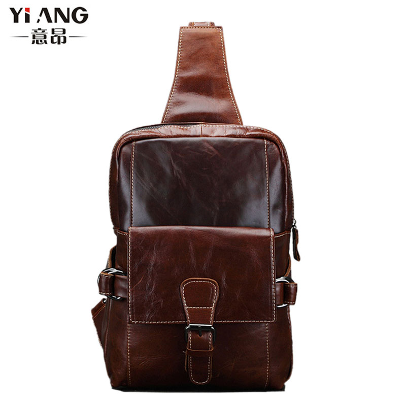 New Men Oil Wax leather First layer Cowhide Travel Belt Messenger Shoulder Sling Day Pack Chest Bag ferrino o hare day pack