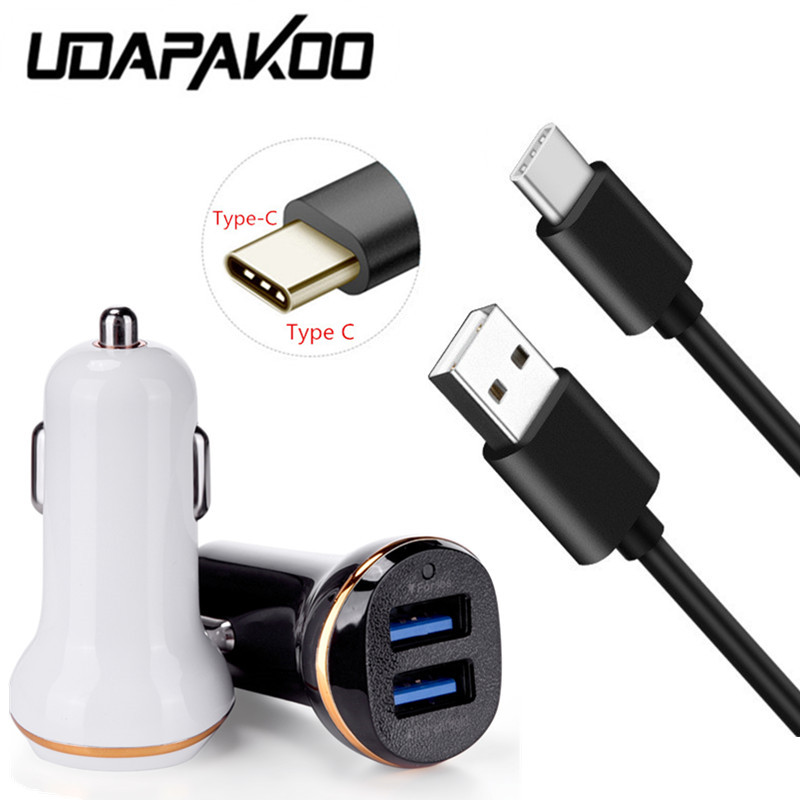 US $3.73 25% OFF|2 USB port Car charger Adapter & 1M Fast Type c usb cable For samsung A5 A7 2017 huawei mate 20 Pro honor 10 9 8 view 20